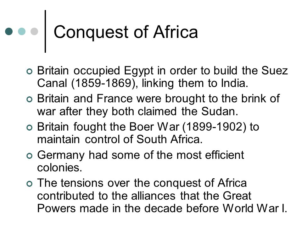 Conquest of Africa Britain occupied Egypt in order to build the Suez Canal (1859-1869), linking them to India.