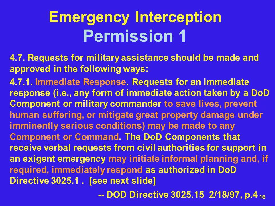 16 Emergency Interception Permission 1 4.7.