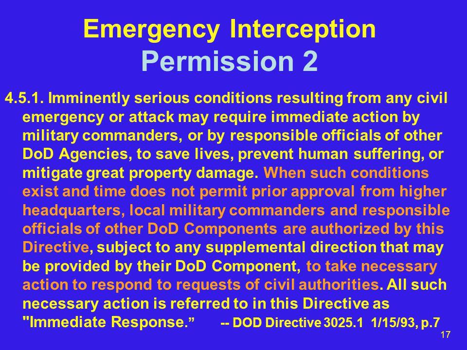 17 Emergency Interception Permission 2 4.5.1.