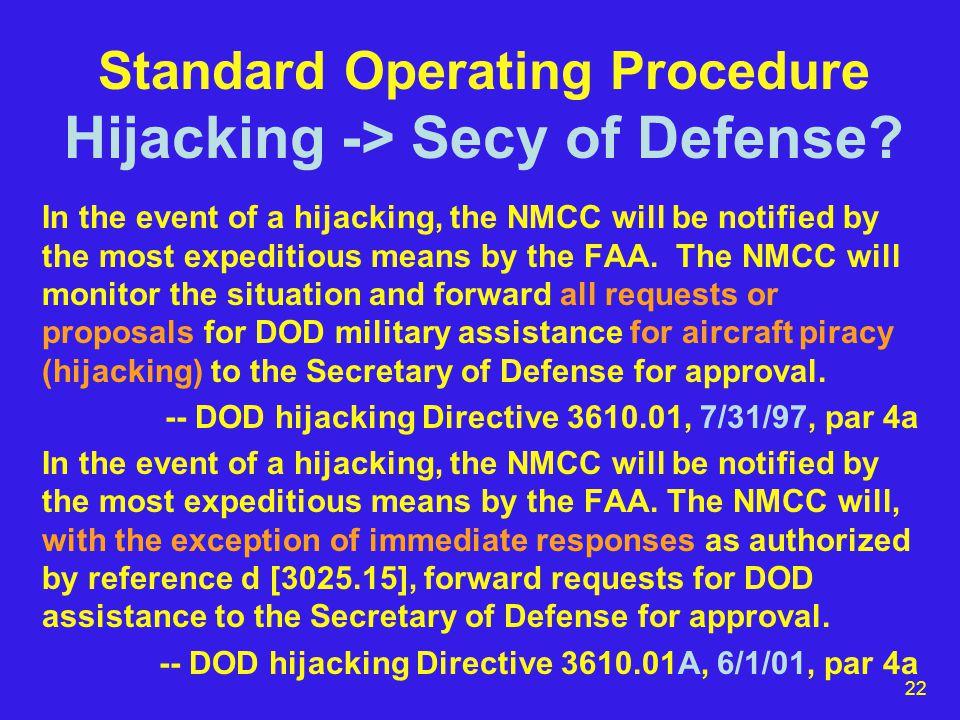 22 Standard Operating Procedure Hijacking -> Secy of Defense.