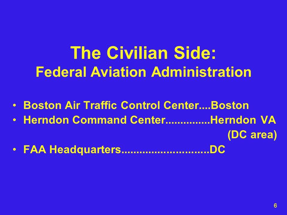 6 The Civilian Side: Federal Aviation Administration Boston Air Traffic Control Center....Boston Herndon Command Center...............Herndon VA (DC area) FAA Headquarters.............................DC