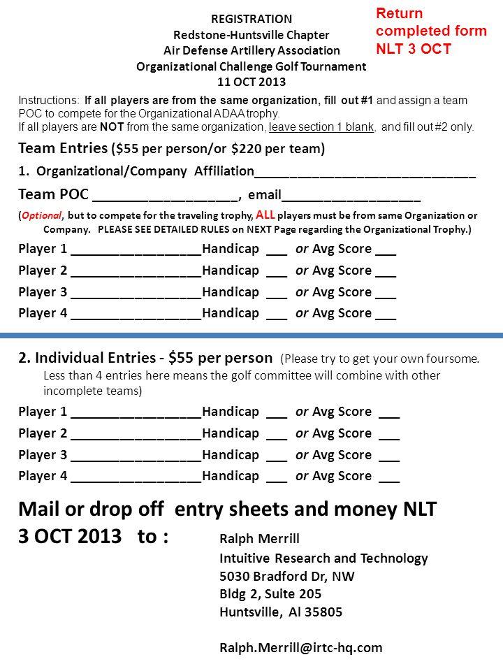 Team Entries ($55 per person/or $220 per team) 1.