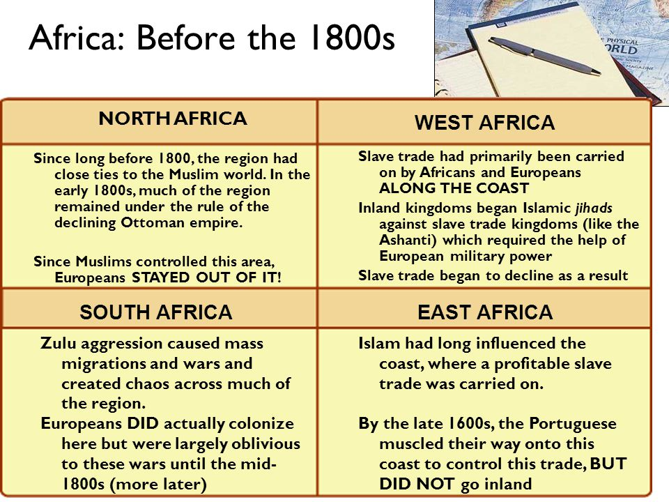 Africa: Before the 1800s NORTH AFRICA WEST AFRICA SOUTH AFRICAEAST AFRICA Since long before 1800, the region had close ties to the Muslim world.