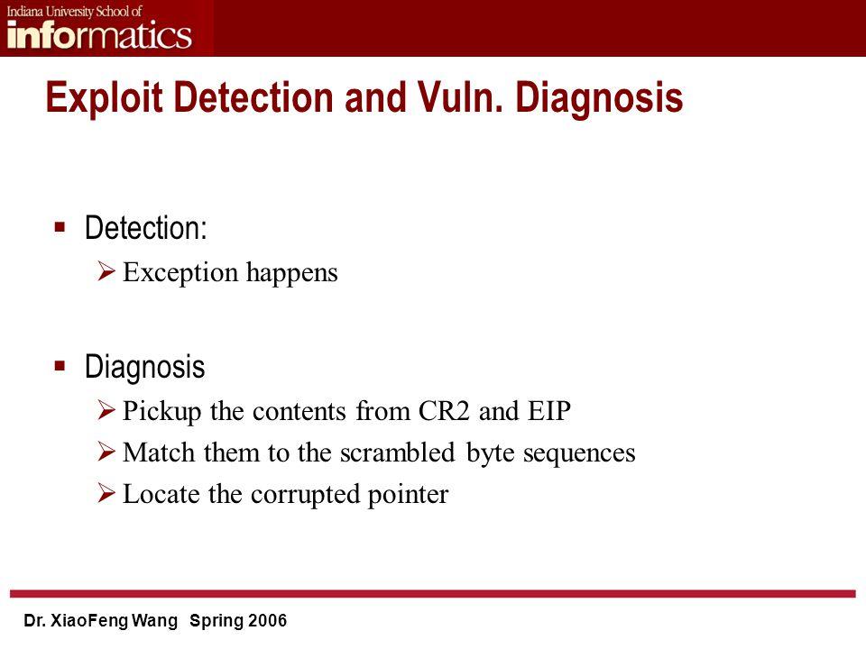 Dr. XiaoFeng Wang Spring 2006 Exploit Detection and Vuln.