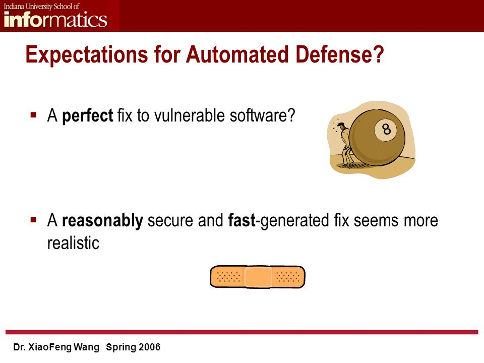 Dr. XiaoFeng Wang Spring 2006 Expectations for Automated Defense.