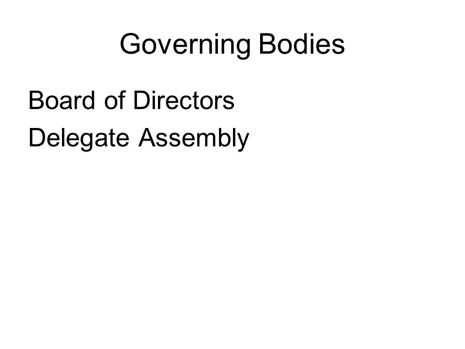 Governing Bodies Board of Directors Delegate Assembly