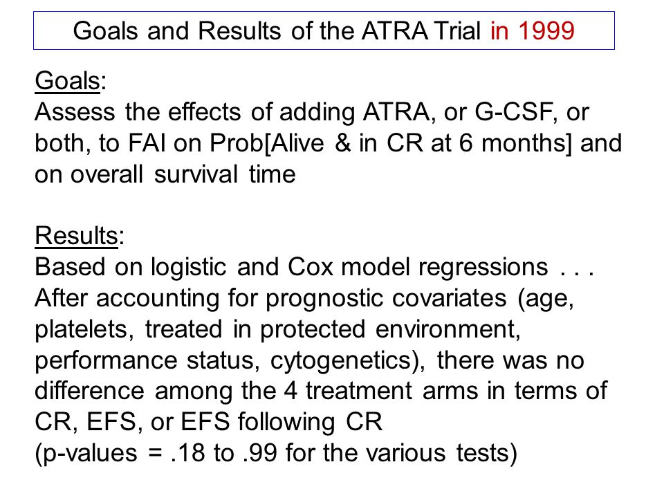 Goals and Results of the ATRA Trial in 1999 Goals: Assess the effects of adding ATRA, or G-CSF, or both, to FAI on Prob[Alive & in CR at 6 months] and