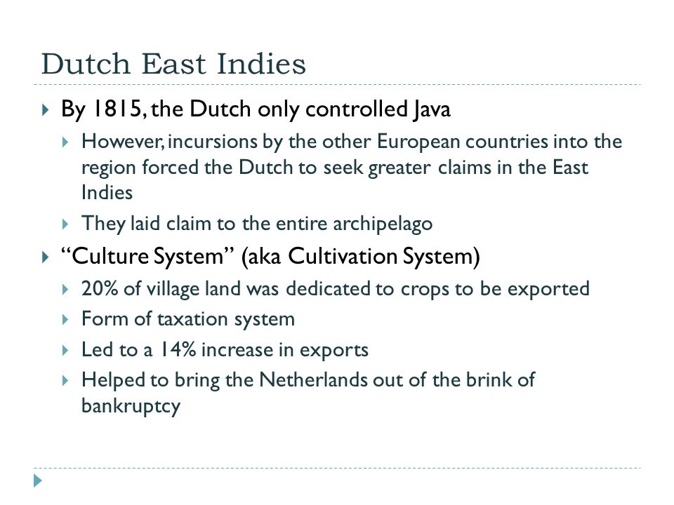 Dutch East Indies  By 1815, the Dutch only controlled Java  However, incursions by the other European countries into the region forced the Dutch to