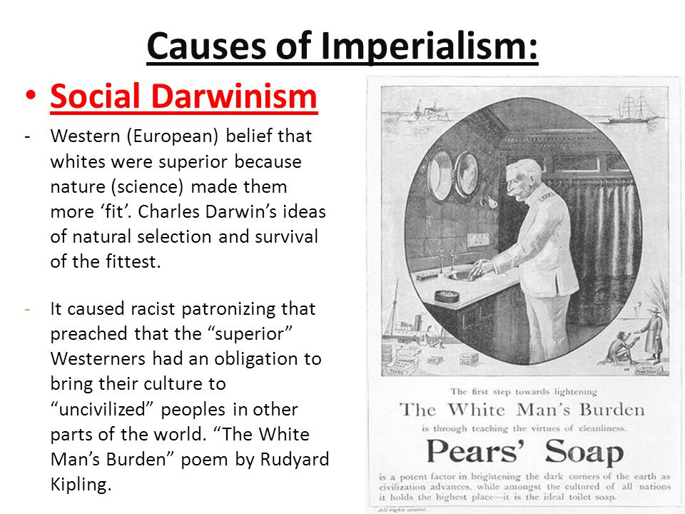 Causes of Imperialism: Social Darwinism -Western (European) belief that whites were superior because nature (science) made them more 'fit'.
