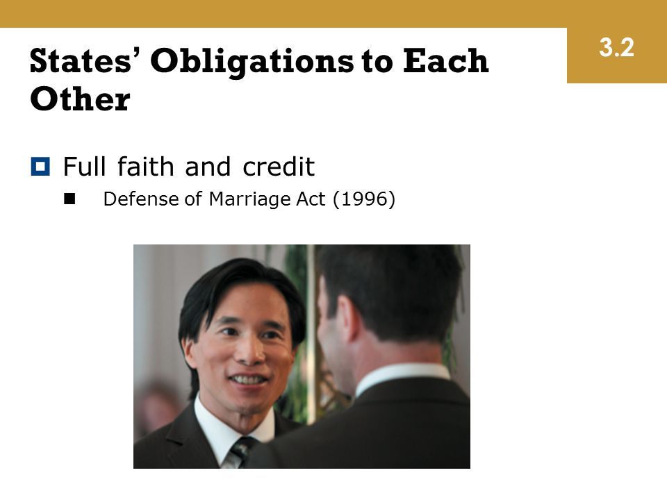 States' Obligations to Each Other  Full faith and credit Defense of Marriage Act (1996) 3.2