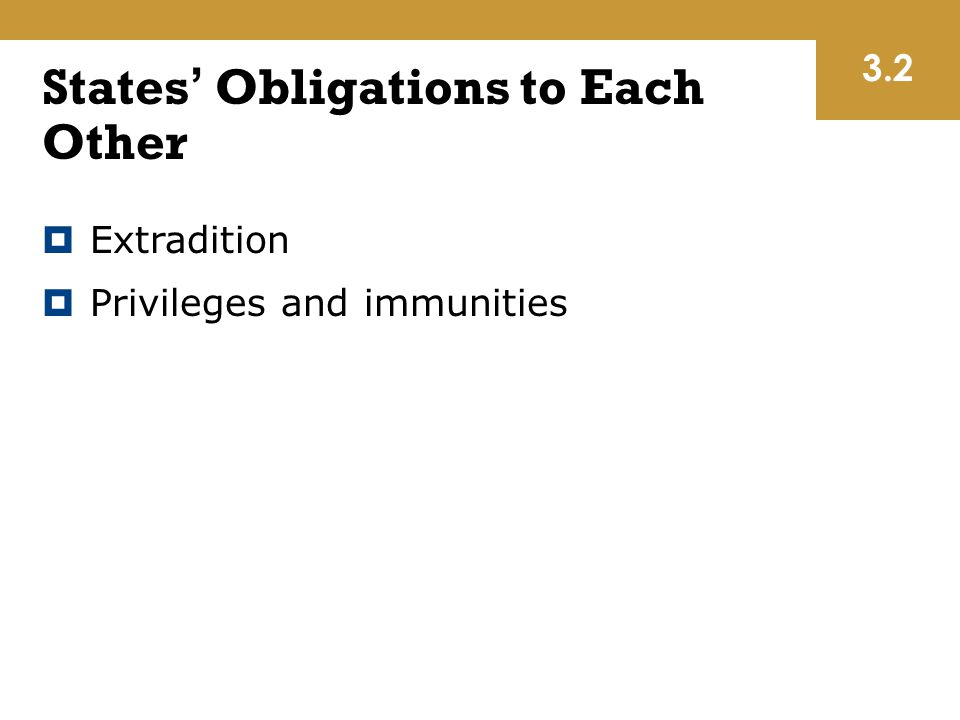 States' Obligations to Each Other  Extradition  Privileges and immunities 3.2