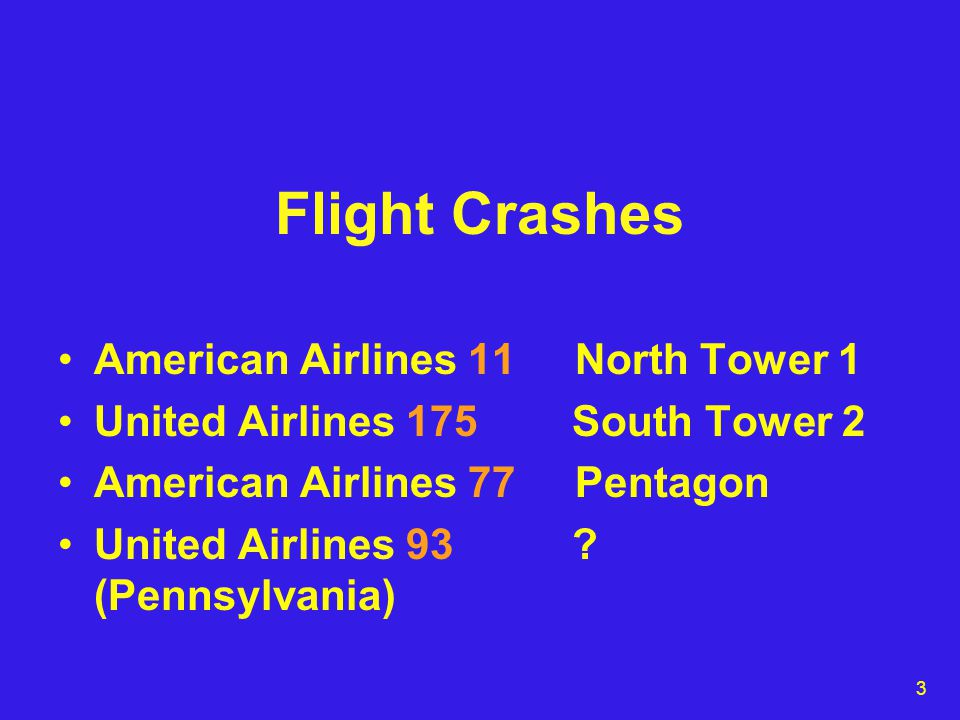 3 Flight Crashes American Airlines 11 North Tower 1 United Airlines 175 South Tower 2 American Airlines 77 Pentagon United Airlines 93 .