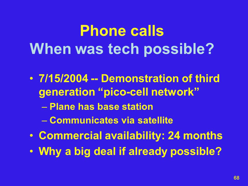 68 Phone calls When was tech possible.