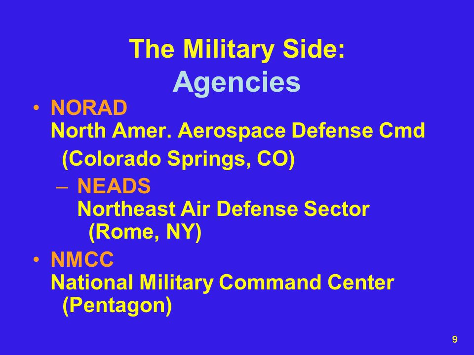 9 The Military Side: Agencies NORAD North Amer.