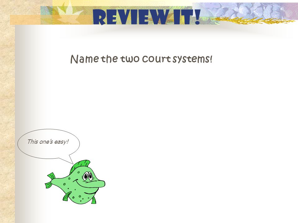 Review It! Name the two court systems! This one's easy!