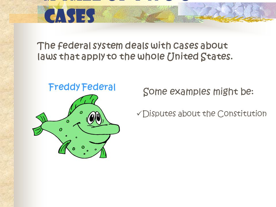 A Tale of Two o Cases The federal system deals with cases about laws that apply to the whole United States.