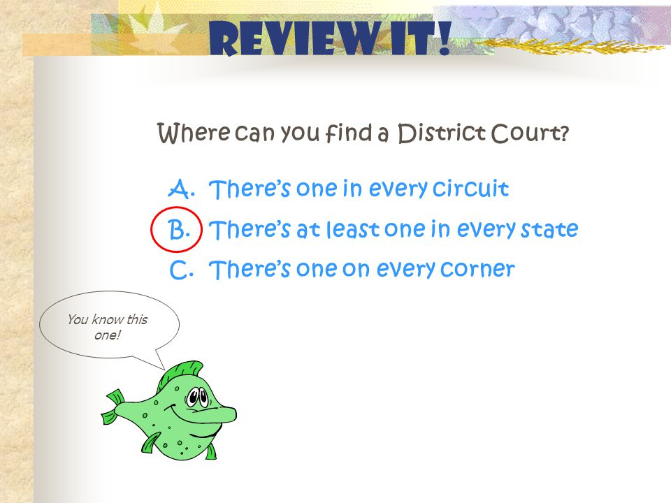 Review It. Where can you find a District Court. You know this one.