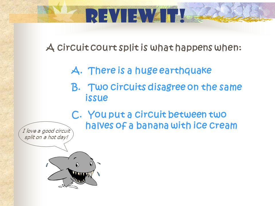 Review It! A circuit court split is what happens when: I love a good circuit split on a hot day! A. There is a huge earthquake B. Two circuits disagre