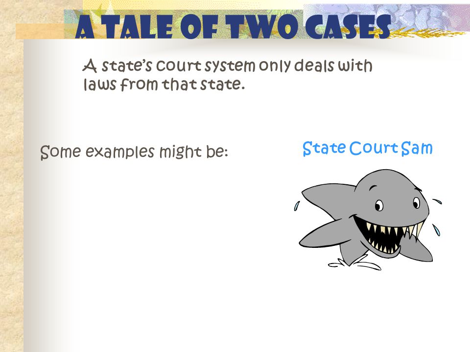 A Tale of Two Cases A state's court system only deals with laws from that state.