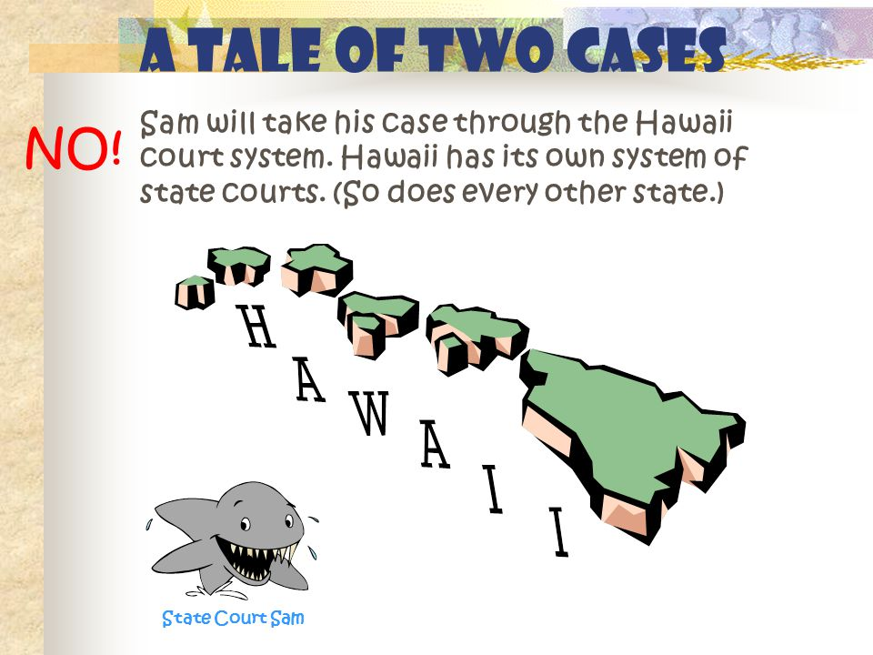 A Tale of Two Cases Sam will take his case through the Hawaii court system.