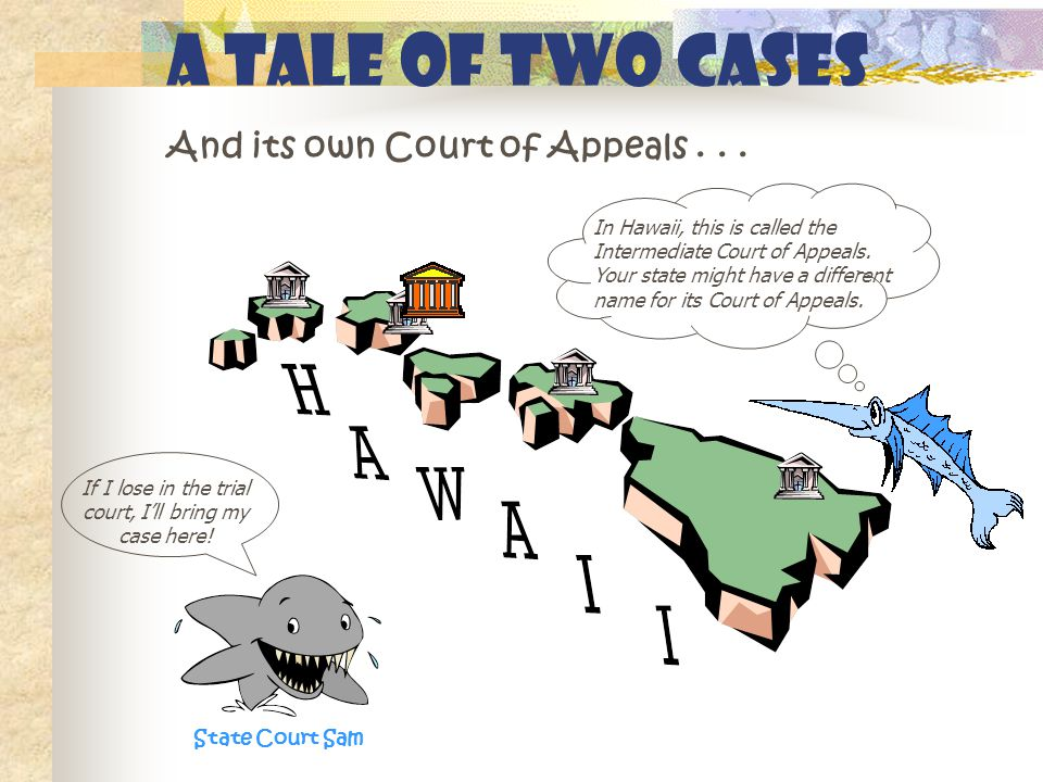 A Tale of Two Cases And its own Court of Appeals... State Court Sam In Hawaii, this is called the Intermediate Court of Appeals. Your state might have