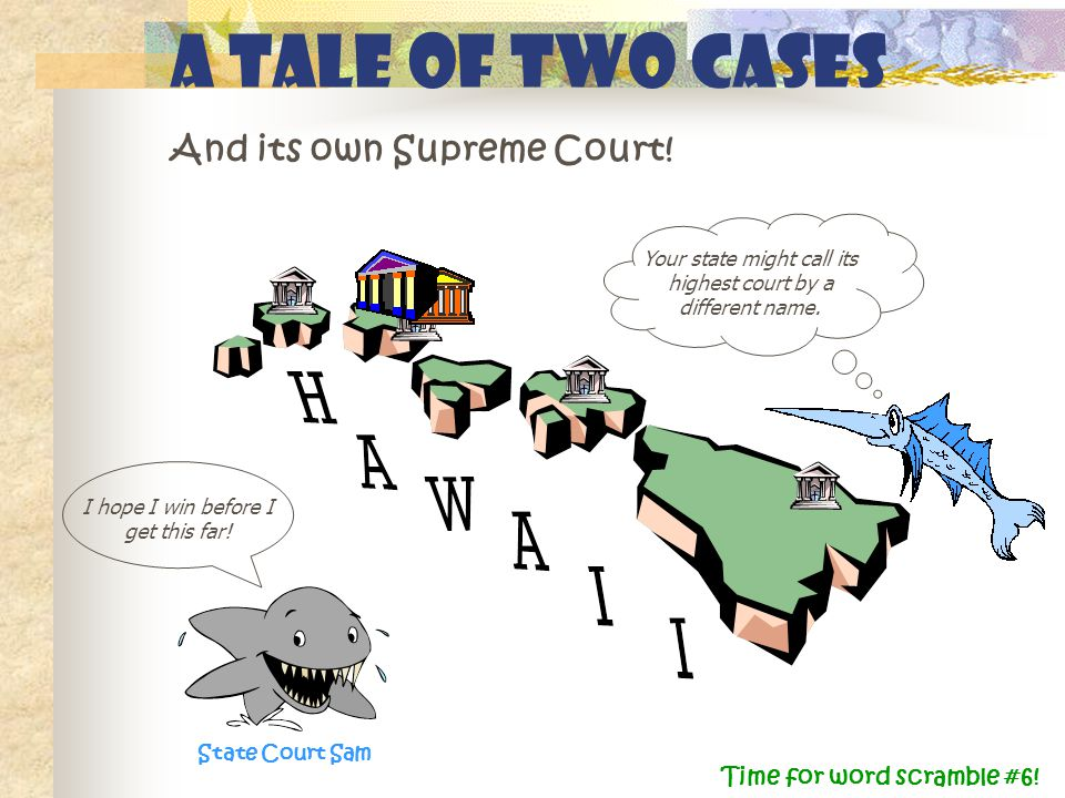A Tale of Two Cases And its own Supreme Court! State Court Sam Your state might call its highest court by a different name. I hope I win before I get