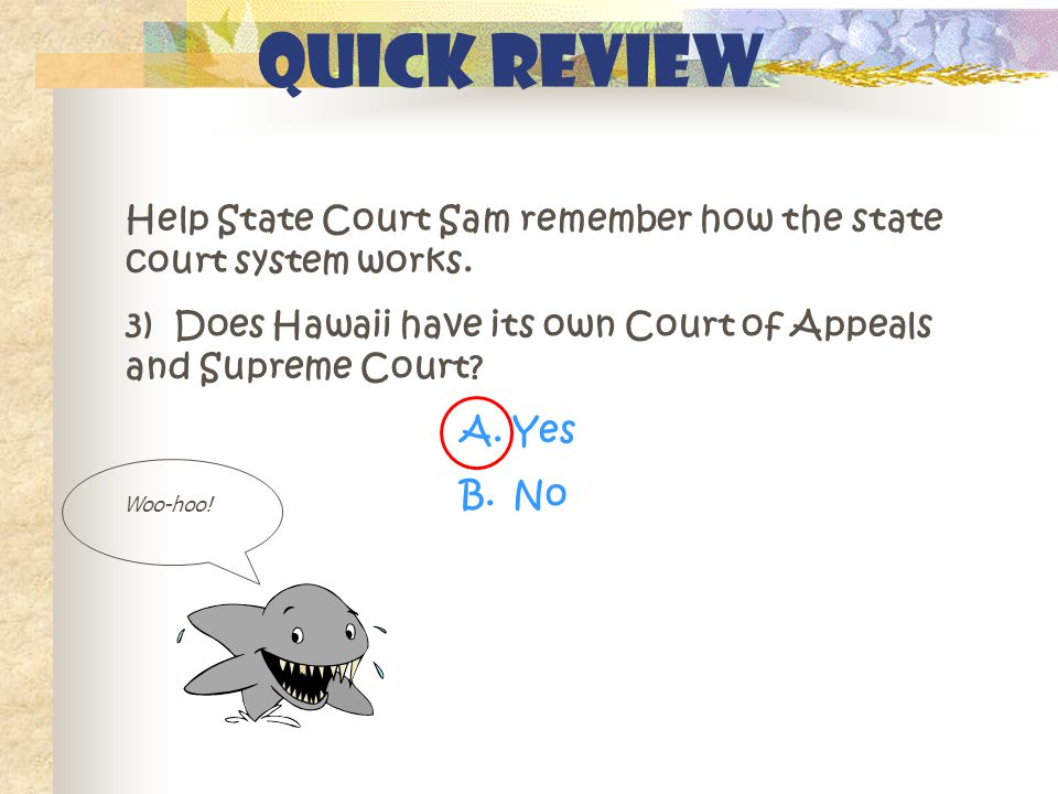 Quick Review Help State Court Sam remember how the state court system works. 3) Does Hawaii have its own Court of Appeals and Supreme Court? A.Yes B.N
