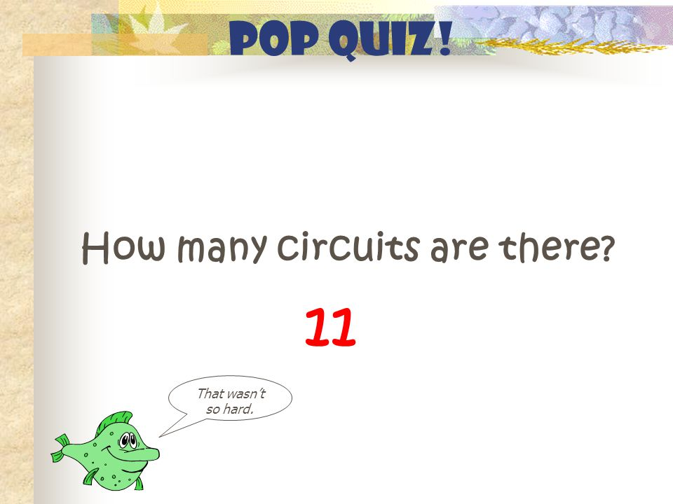 Pop Quiz! How many circuits are there That wasn't so hard. 11