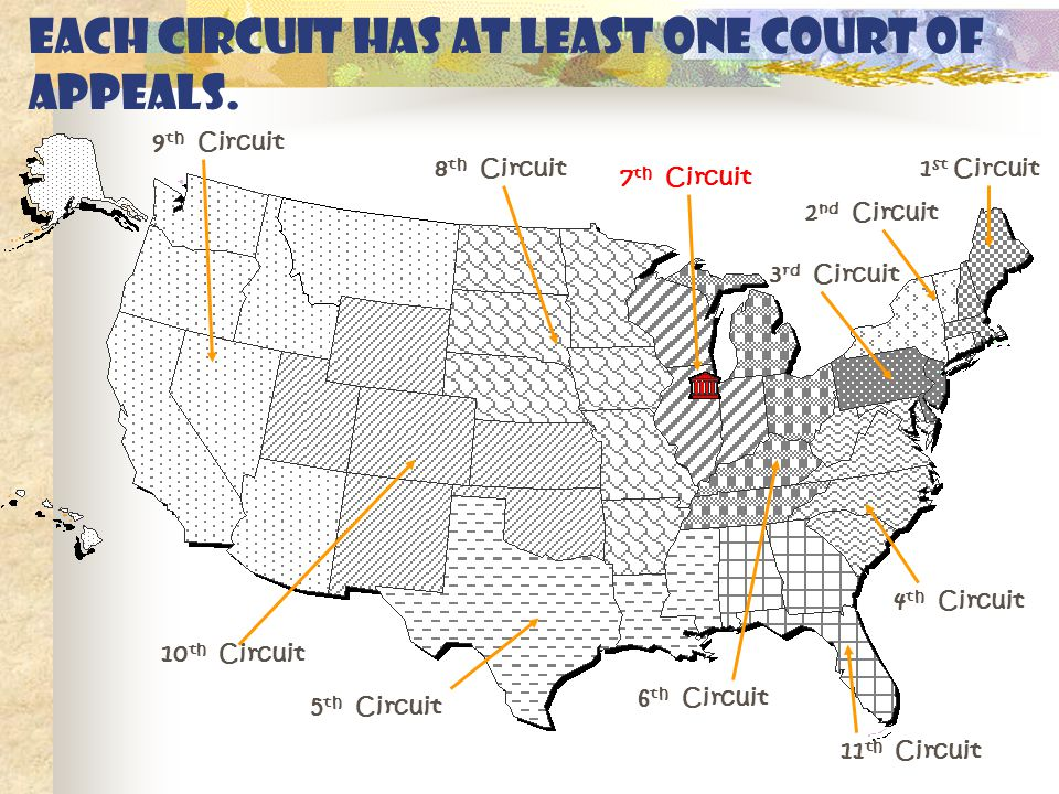 Each circuit has at least one Court of Appeals.