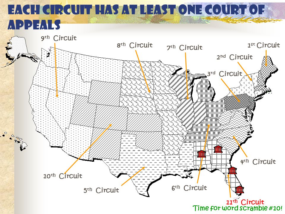 Each circuit has at least one Court of Appeals 1 st Circuit 2 nd Circuit 3 rd Circuit 4 th Circuit 5 th Circuit 6 th Circuit 7 th Circuit 8 th Circuit