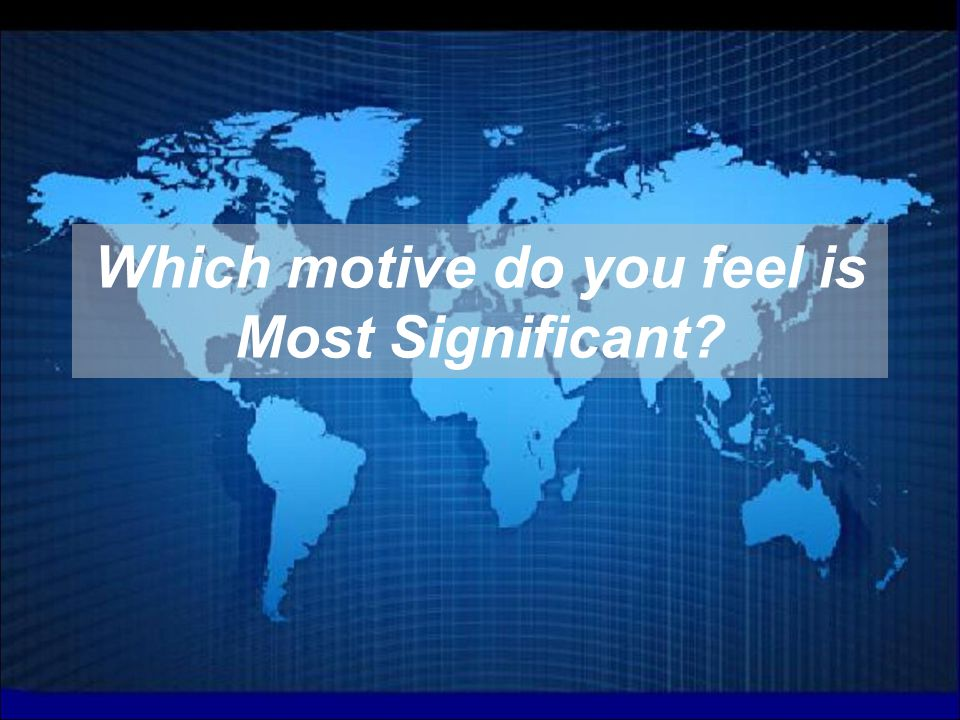 Which motive do you feel is Most Significant