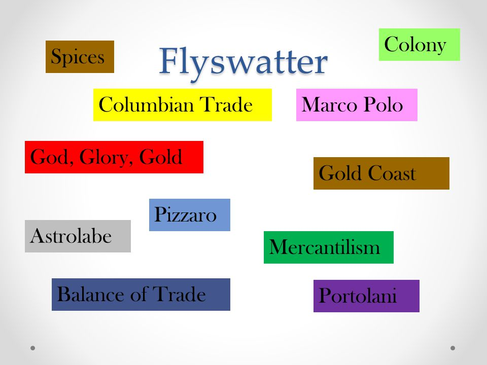 Flyswatter God, Glory, Gold Pizzaro Gold Coast Balance of Trade Astrolabe Mercantilism Spices Marco PoloColumbian Trade Portolani Colony