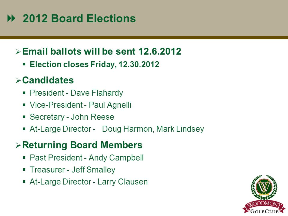 2012 Board Elections  Email ballots will be sent 12.6.2012  Election closes Friday, 12.30.2012  Candidates  President - Dave Flahardy  Vice-President - Paul Agnelli  Secretary - John Reese  At-Large Director - Doug Harmon, Mark Lindsey  Returning Board Members  Past President - Andy Campbell  Treasurer - Jeff Smalley  At-Large Director - Larry Clausen 6