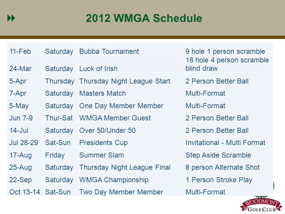 7 2012 WMGA Schedule 11-FebSaturdayBubba Tournament9 hole 1 person scramble 24-MarSaturdayLuck of Irish 18 hole 4 person scramble blind draw 5-AprThur