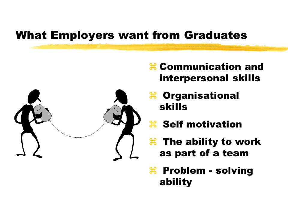 Employer Satisfaction with Graduate Skills Source:AC Neilson Research services Feb 2000 Most commonly cited areas of dissatisfaction Lack of communication skills Lack of interpersonal skills Lack of business practice Lack of problem solving ability Lack of creative flair