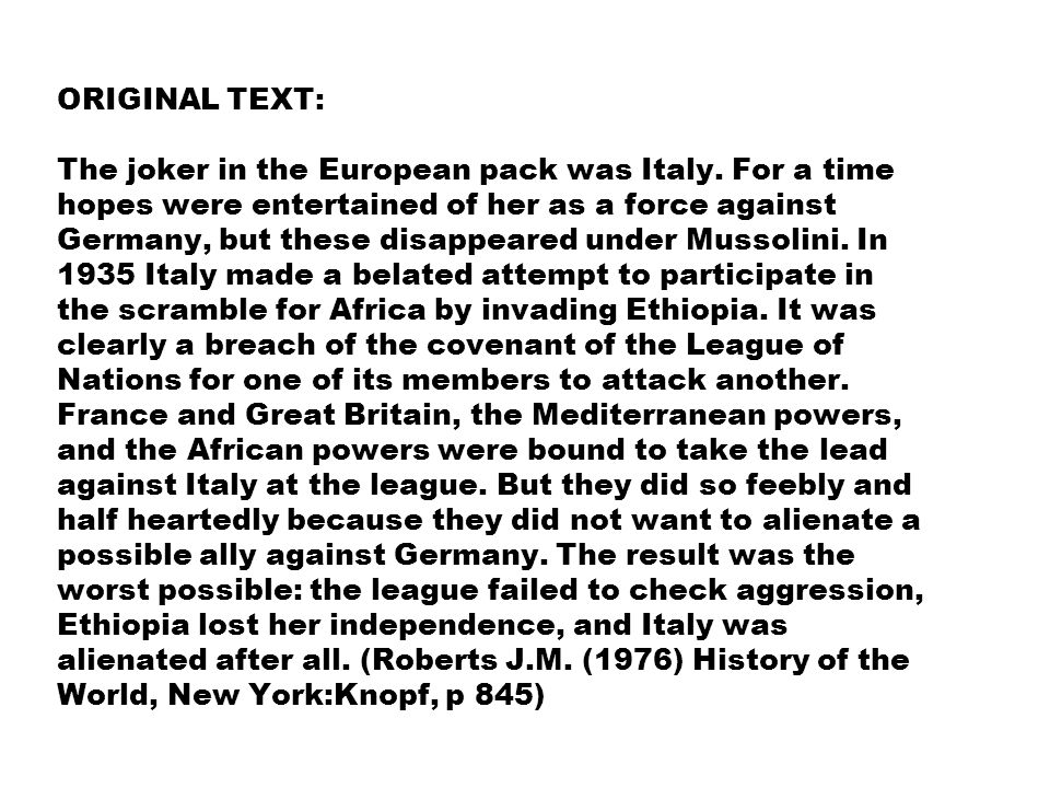 ORIGINAL TEXT: The joker in the European pack was Italy.