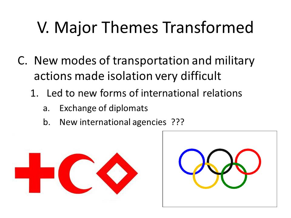 V. Major Themes Transformed C.New modes of transportation and military actions made isolation very difficult 1.Led to new forms of international relat