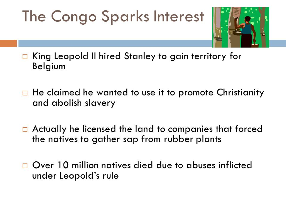 The Congo Sparks Interest  King Leopold II hired Stanley to gain territory for Belgium  He claimed he wanted to use it to promote Christianity and a