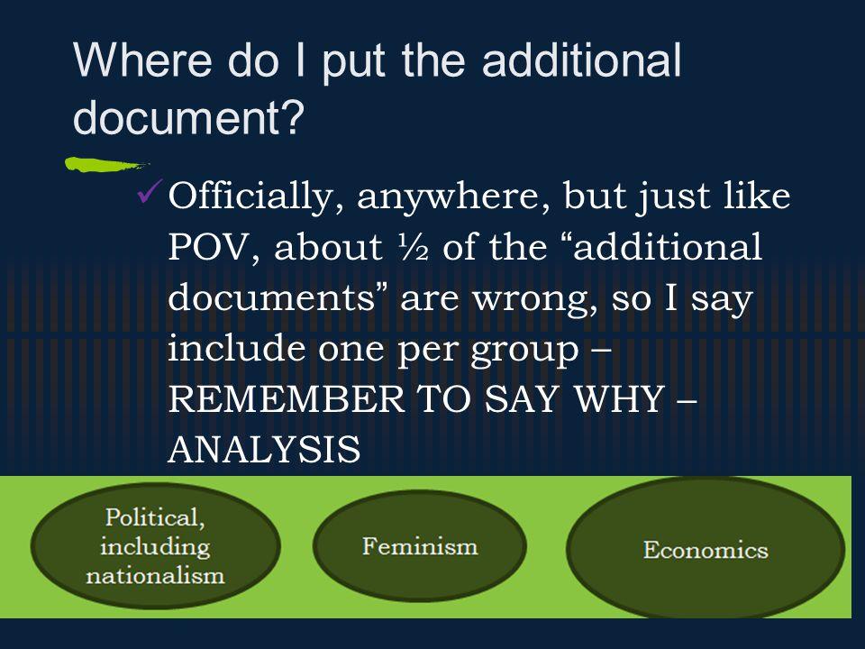 Where do I put the additional document.