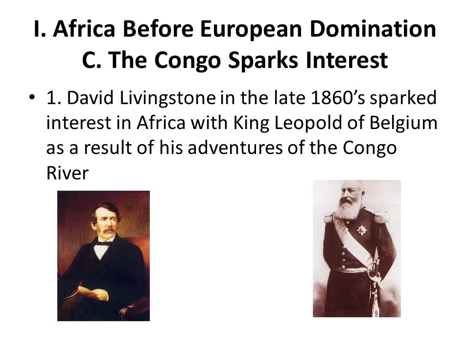 I. Africa Before European Domination C. The Congo Sparks Interest 1. David Livingstone in the late 1860's sparked interest in Africa with King Leopold