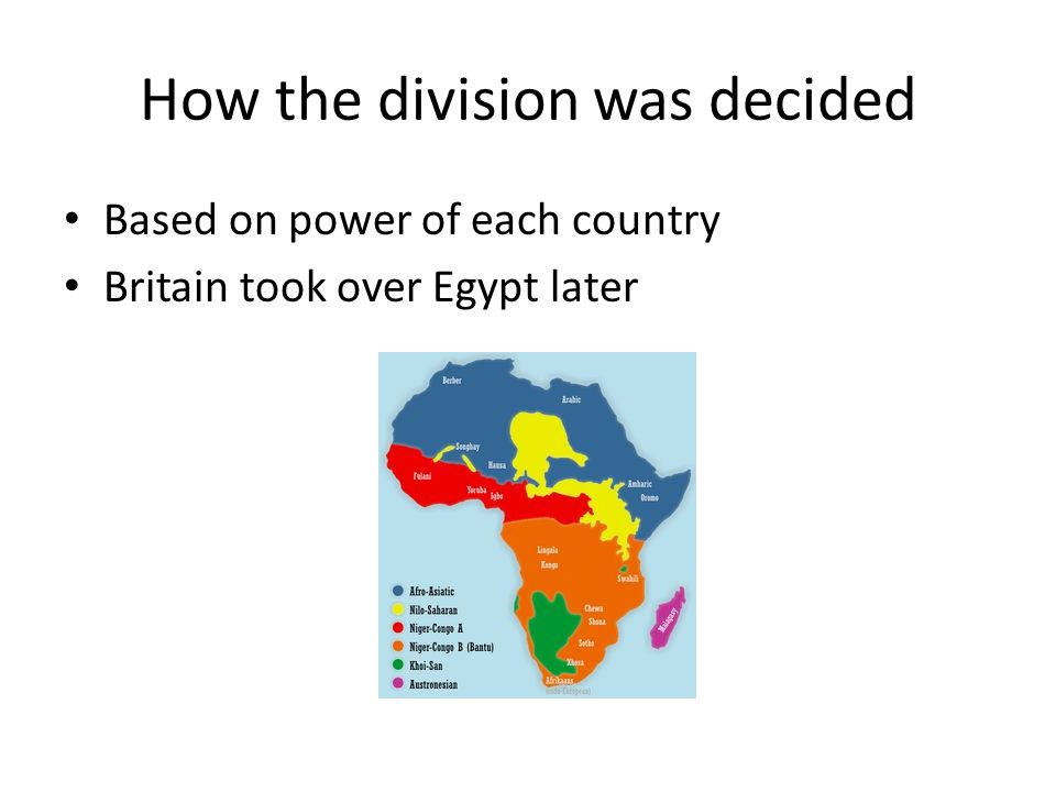 How the division was decided Based on power of each country Britain took over Egypt later