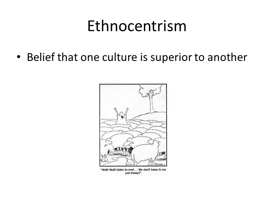 Ethnocentrism Belief that one culture is superior to another