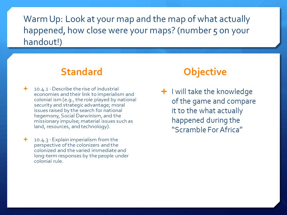 Warm Up: Look at your map and the map of what actually happened, how close were your maps.
