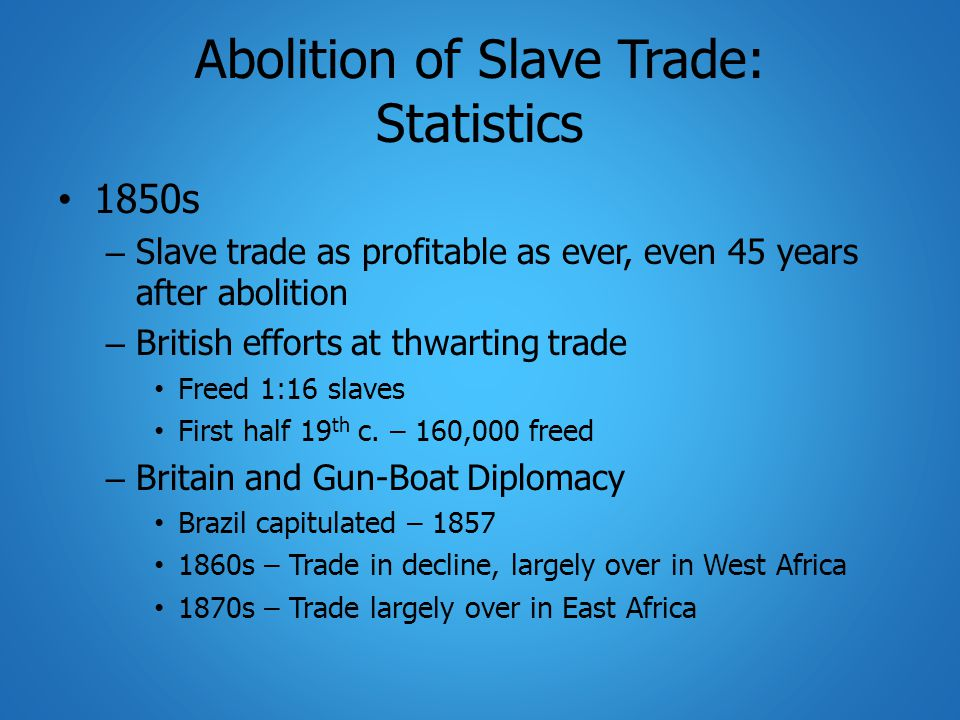 Abolition of Slave Trade: Statistics 1850s – Slave trade as profitable as ever, even 45 years after abolition – British efforts at thwarting trade Freed 1:16 slaves First half 19 th c.