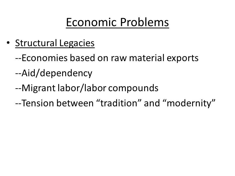 Economic Problems During imperialism European nations set up export type economies.
