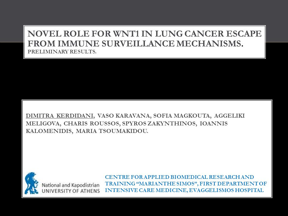 NOVEL ROLE FOR WNT1 IN LUNG CANCER ESCAPE FROM IMMUNE SURVEILLANCE MECHANISMS. PRELIMINARY RESULTS. DIMITRA KERDIDANI, VASO KARAVANA, SOFIA MAGKOUTA,