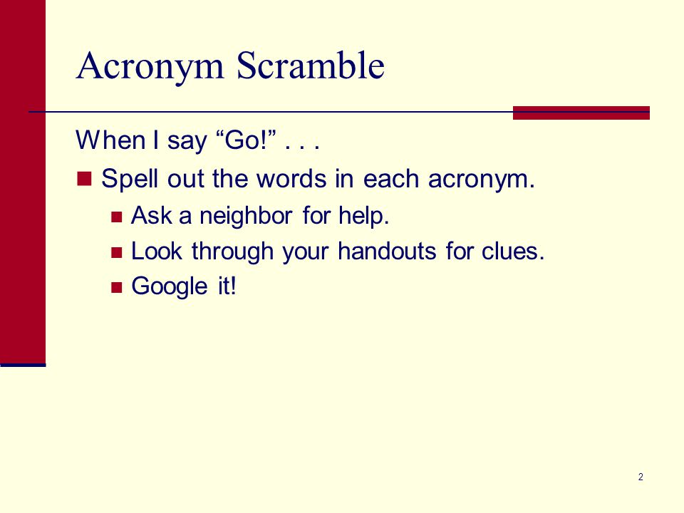 Acronym Scramble When I say Go! ... Spell out the words in each acronym.
