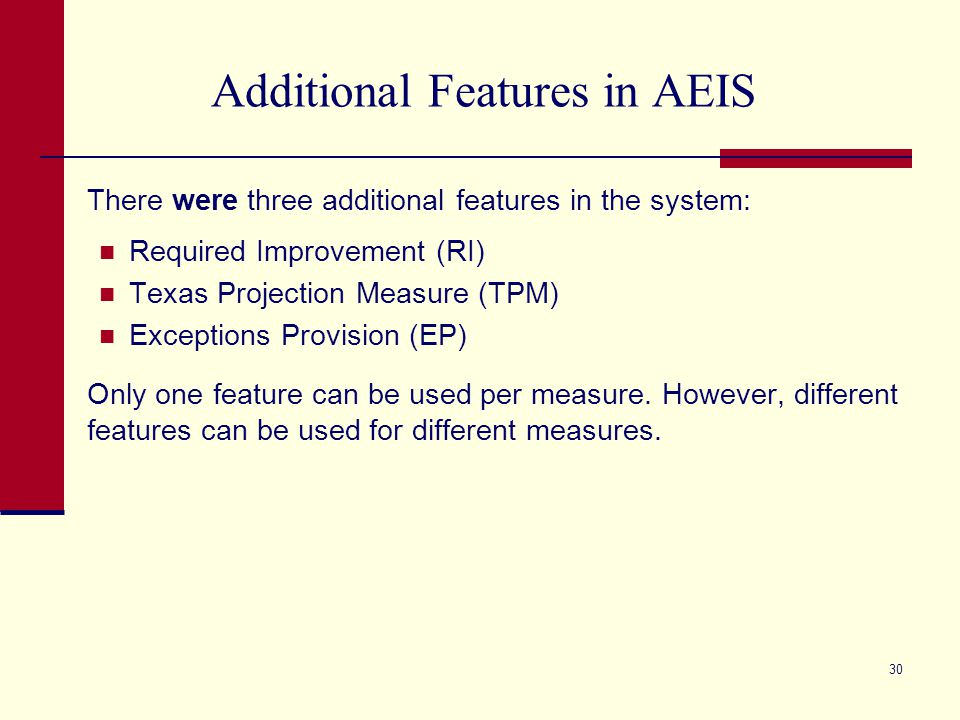 Additional Features in AEIS There were three additional features in the system: Required Improvement (RI) Texas Projection Measure (TPM) Exceptions Provision (EP) Only one feature can be used per measure.