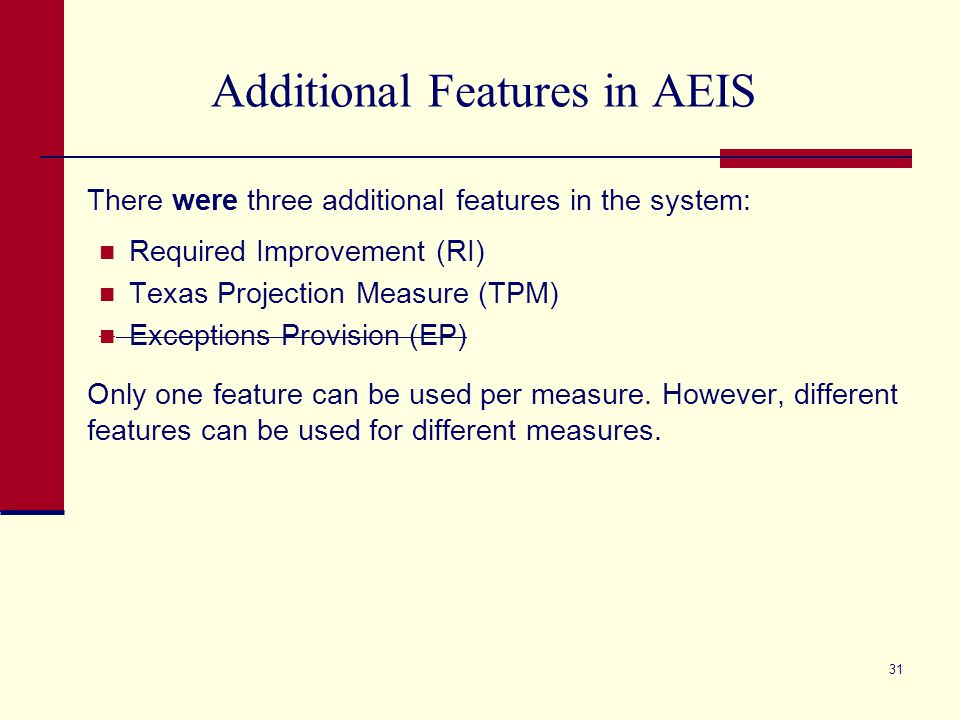 Additional Features in AEIS There were three additional features in the system: Required Improvement (RI) Texas Projection Measure (TPM) Exceptions Pr