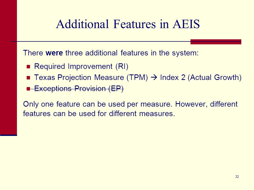 Additional Features in AEIS There were three additional features in the system: Required Improvement (RI) Texas Projection Measure (TPM)  Index 2 (Actual Growth) Exceptions Provision (EP) Only one feature can be used per measure.